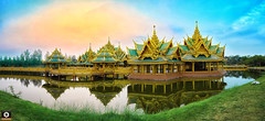~ Pavilion of the Enlightened ~ Ancient Siam ~ (Chirag Khatri) Tags: nikon d7200 thailand siam bangkok travel traveling architecture ancientsiam ancient samutprakan samut thai tamron tamron1530 pano panorama yellow sky landscape lake unique structure traditional explore blending city park gallery monuments restoration colorful colors green roof gold tiles reflection life joy