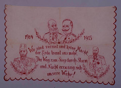 Decorative embroidery depicting German ruler and allies during World War I (Center for Jewish History, NYC) Tags: portrait jewish jews greatwar everydaylife kaiserwilhelmii sultanmehmedv yeshivauniversitymuseum kingferdinandi emperorfrancisjosephi
