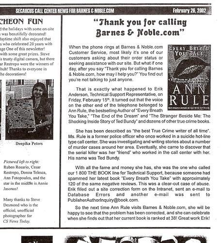 BN.com Newsletter - AnnRuleStory