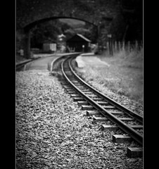 =I=I=I=I=I=I=I=I=I=I= (Samantha Nicol Art Photography) Tags: old uk travel bridge england white black station train fence focus dof lakedistrict platform tracks railway steam cumbria driver samantha gauge narrow eskdale ravenglass nicol