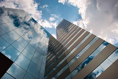 Looking up (Sky Noir) Tags: blue sky architecture clouds james virginia downtown day cloudy center richmond skynoir bybilldickinsonskynoircom