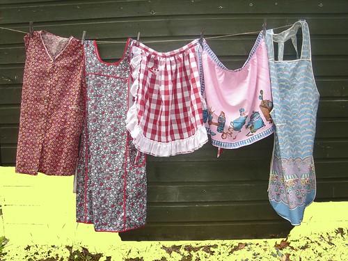 Vintage aprons on a line