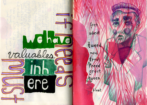Valuables in here and Non-tweets, ink on paper, July 2009 by Sarah Atlee. Click image to view source.