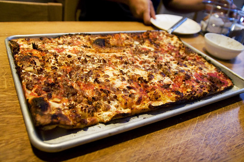 old fashioned pizza with sausage