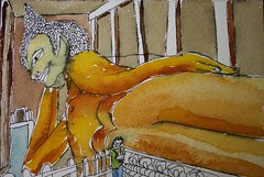 Reclining Buddha at Wat Pho, Bangkok, Thailand: 2007.12.12 (Julia L. Kay) Tags: travel portrait selfportrait art pen self watercolor thailand asia southeastasia artist julia buddha kunst autoretrato kay daily watercolour 365 everyday bangkokwat juliakay julialkay phorecliningbuddhabudhareclining buddhagolden