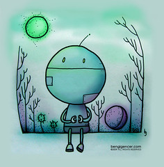 this robot is waiting for a brand new day (bengi gencer) Tags: new sun moon smile illustration forest robot waiting day purple turquoise linedrawing