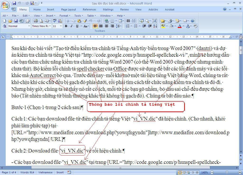 Thêm chức năng kiểm tra chính tả tiếng Việt cho Word 2007
