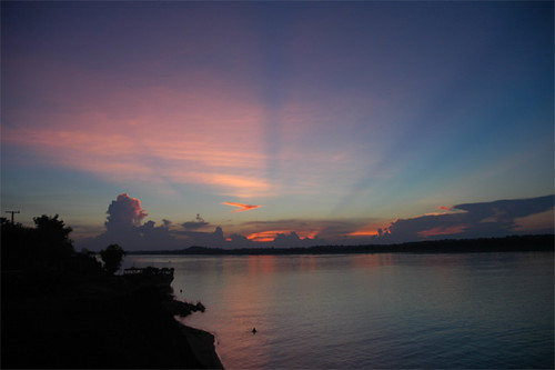 Pretty sunset south of Stung Treng, Cambodia