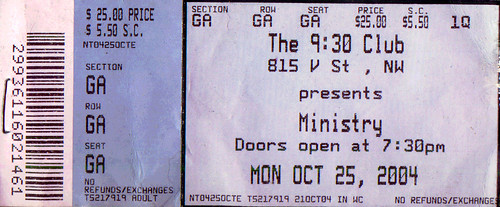 20041025 - Ministry & My Life With The Thrill Kill Kult ticket stub