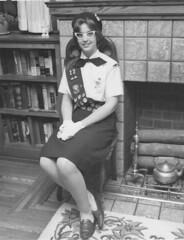 Girl Scout (kevin63) Tags: blackandwhite glasses huntington gloves westvirginia eyeglasses beret lightner loafers girlschout