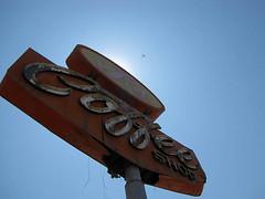 J's Coffee Shop - Delano, California (Vintage Roadside) Tags: california sign neon coffeeshop roadtrip signage delano highway99 fadedsign defunct brokenneon rustysign vintageroadside