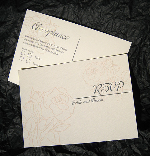 Wedding Stationary RSVP Postcard Each RSVP card included a stamp and the