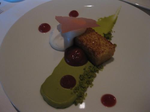 Michael Mina - Jasmine Olive Oil Cake, Soft Yogurt Bavarois, Rooibos Tea, Pistachio Purée