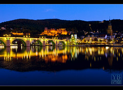 Heidelberg, Germany (Yen Baet) Tags: bridge reflection architecture river germany ruins europe sightseeing medieval nightshots bluehour heidelberg neckar longexposures heidelbergschloss heidelbergcastle nikond200 1755mmf28
