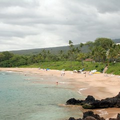 Beachgoers enjoy plenty of room on this lesser known South Maui beach.