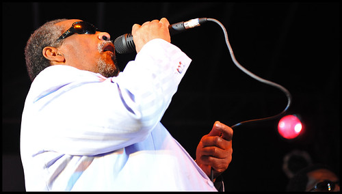 Ben Moore performs as one of the Blind Boys of Alabama at the Peace Park stage on Saturday, Sept. 26, 2009.