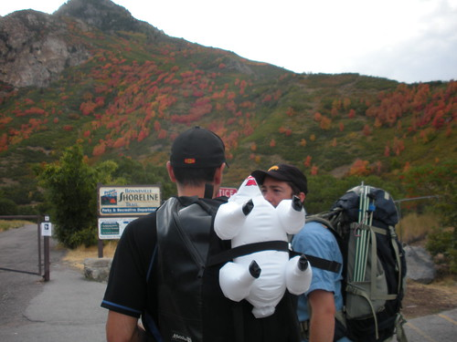 Long story short, this is my third inflatable sheep... Here we are walking to the climbs in Rock Canyon, Provo, Utah.