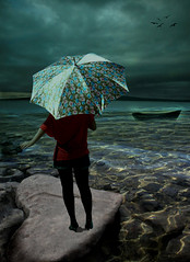 Wash away my sorrow (.Micheledias.) Tags: lake birds umbrella photoshop boat heart magic surreal manipulation michele dias efeitos manipulaodeimagem platinumheartaward magicmanipulation