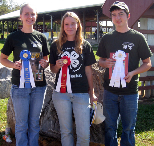 Senior goat skillathon winners (L-R) Ashley Butler, Hannah Goodmuth, and T.J. Morgan.