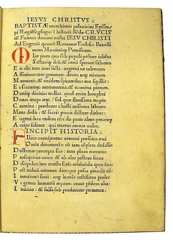 Coloured initials in prologue from Pallavicinus, Baptista: Historia flendae crucis et funeris Jesu Christi