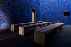 Meditation Chappel in Blue 2/2 (yushimoto_02 [christian]) Tags: wood blue church horizontal architecture germany bench munich mnchen sacral seat religion entrance kirche bank nopeople illuminated indoors brickwall zen sacred architektur munchen blau pew mystic muenchen mystisch kapelle absence chappel sitzbank sitz colorimage threeobjects sakral seatbench domenikus domenikuszentrum dominikuszentrum