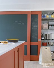 Chalkboard paint + red + white kitchen: Farrow & Ball 'Blazer,' from Met Home