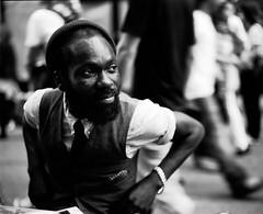 london 2009 - sam (travelight) Tags: portrait blackandwhite london 120 film friend sam bricklane 2009 67 underexposed plaubel makina sartorial travelight