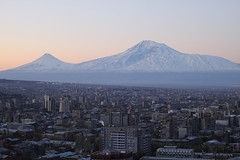 Sunrise over Yerevan /   (Seroujo) Tags: mountain skyline sunrise canon eos 50mm cityscape snowcapped mount armenia yerevan ef masis ararat 500d  massis     t1i
