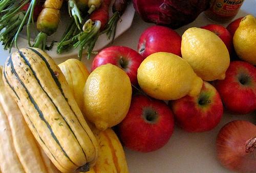 Delicata squash w/ apples, lemons