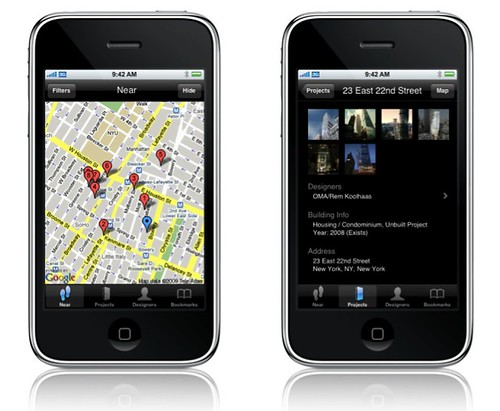 The Designear app maps nearby new notable projects in New York City, and provides info for each one.