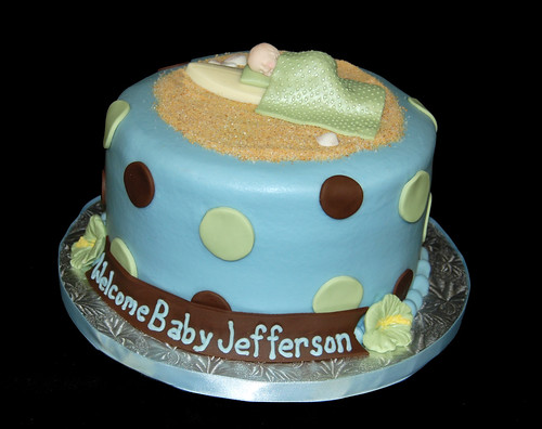 blue green and brown polka dot Hawaiian surf themed baby shower cake