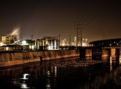 down by the river (Andy Kennelly) Tags: california city bridge birds architecture night reflections river concrete lights la losangeles factory nightshot smoke kennelly ajax8055