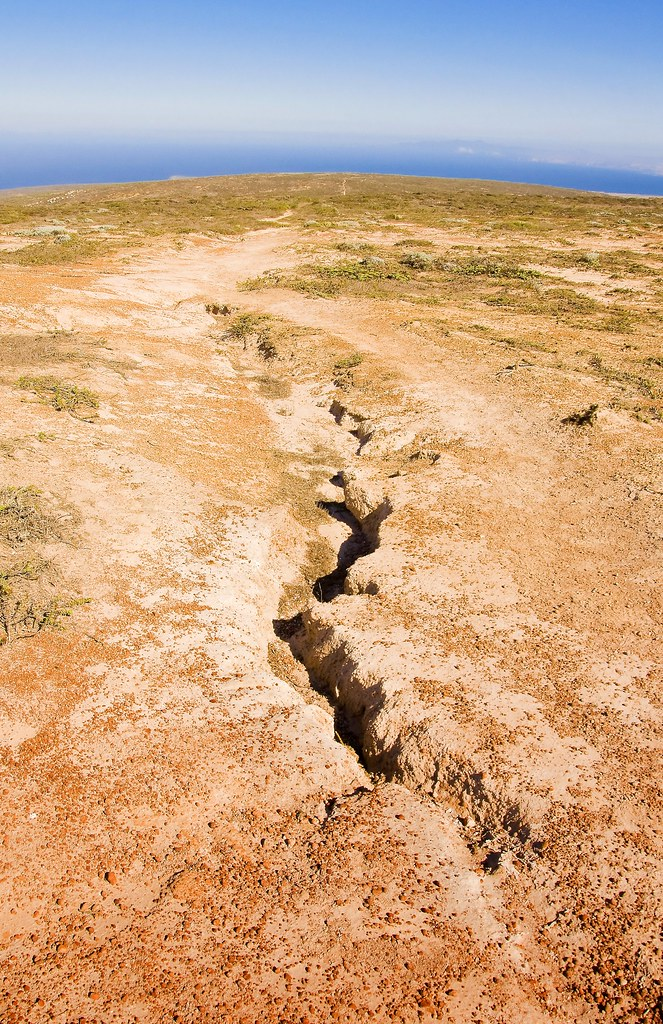Potential California earthquake fault line exposed on the surface