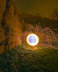 Down by the Priory (- Hob -) Tags: lightpainting circle raw orb sphere cropped lightball lightsphere tynemouthpier lightorb lightjunkies woolflinging