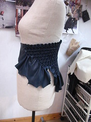 smocking leather - in progress on doll