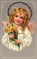 Little angel holding Easter daffodils by IronRodArt - Royce Bair