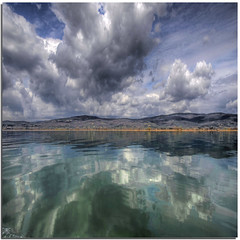 The whole scene for the sky (Nespyxel) Tags: sky lake clouds reflections lago design nuvole pattern riflessi trasimeno reflexes lakescape idream colorphotoaward nespyxel stefanoscarselli fleursetpaysages llitedespaysages