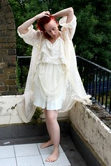 Little Miss Scare All (CalamityJem) Tags: floral vintage dress lace cream slip dressinggown housecoat