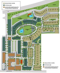 the site plan, showing single-family, townhouses, and mixed/commercial locations (courtesy of Green Street Properties)