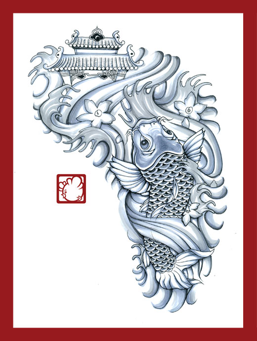 tattoo commission /traditional Japanese wave style influenced / 2009