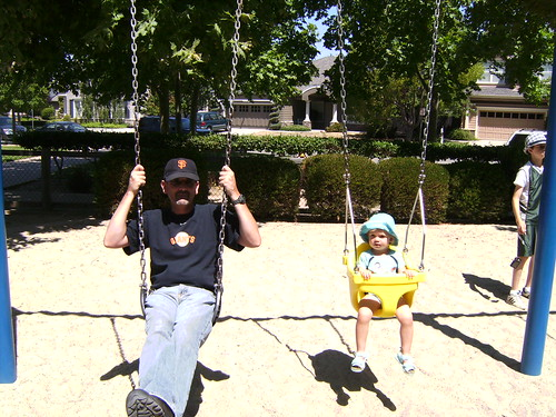 All the cool kids are on the swings.