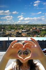 I_love (K D C H) Tags: city summer portrait sky toronto love nature girl face clouds hands view heart fingers 2009 rm kdch rimmamaslak