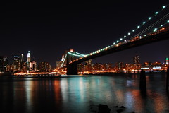 Brooklyn Bridge (Beepd) Tags: new york city nyc bridge light usa ny reflection building water brooklyn night america river dark state east empire