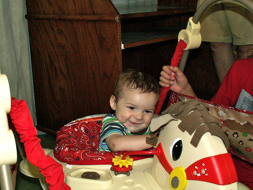 Finn in the horsey ride