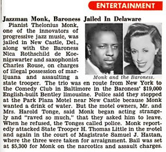 Thelonius Monk and Baroness (Woman with Charlie Parker When He Died) Jailed on Drug Possession - Jet Magazine, October 30, 1958 (vieilles_annonces) Tags: old people usa black history vintage magazine print scans fifties photos african negro retro ephemera nostalgia photographs american 1950s 1958 americana colored 50s magazines marijuana articles folks oldphotos civilrights bentley newsclipping blackhistory vintagephotos narcotics africans comedyclub africanamericanhistory baltimoremaryland negroes peopleofcolor vintagephotographs theloniusmonk vintagemagazine coloredpeople newcastledelaware negrohistory charlesrouse coloredfolk blacknews baronessnicarothschilddekoenigswarter haroldtonge hthomaslittle samuelhattan