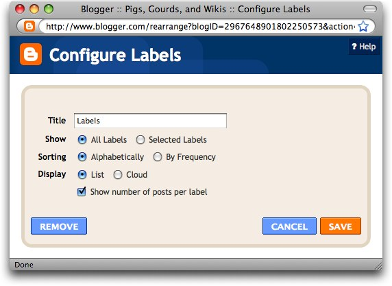 Blogger Configure Labels default