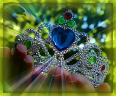 A Crown of Righteousness for my Auntie Gin (prayerfriends) Tags: blue light shadow red white tiara green leaves yellow flesh diamonds hands aqua bokeh framed fingers fingernails crown ruby jewels righteousness raysoflight beyondbokeh