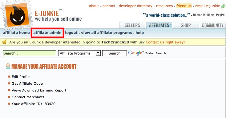 E-junkie (Affiliates) - You are now logged in