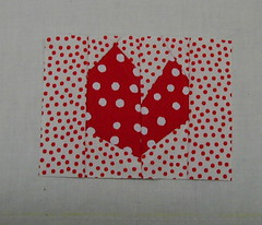 wonky heart try (indigo.threads) Tags: heart polkadots patchwork liberated freepieced