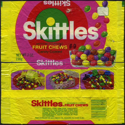 Skittles 7 oz candy pack bag - Jack Candies - 1970's - a